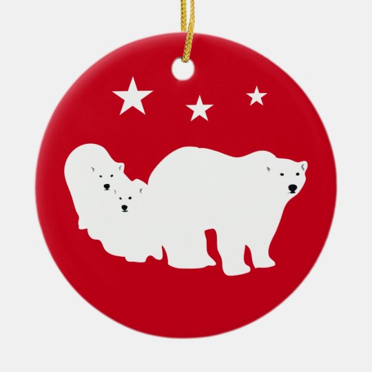 Christmas Ornament Polar Bears Red