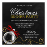 Christmas Ornament Red Bow Dinner Party 13 Cm X 13 Cm Square Invitation Card