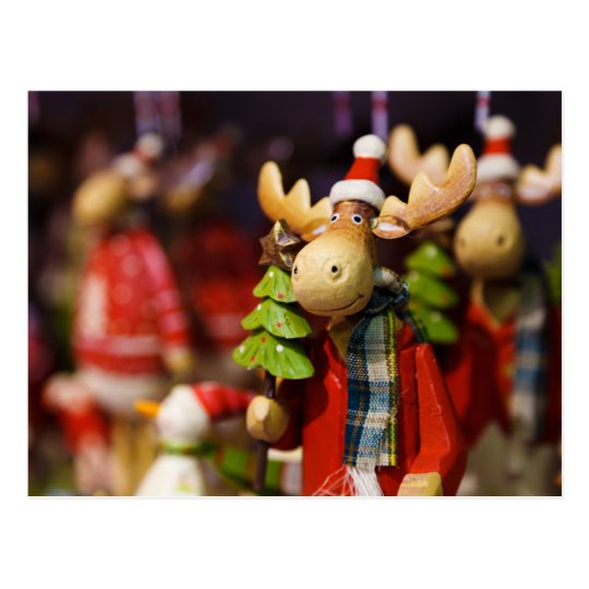 Christmas ornament Santa Claus Moose Postcard
