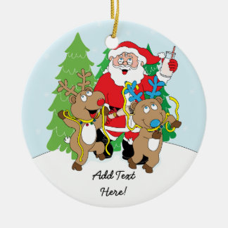Christmas Ornament Santa & Reindeer Personalize