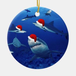 Christmas Ornament-Santa Sharks Round Ceramic Decoration
