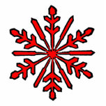 Christmas Ornament Snowflake 1 Red Photo Cut Outs