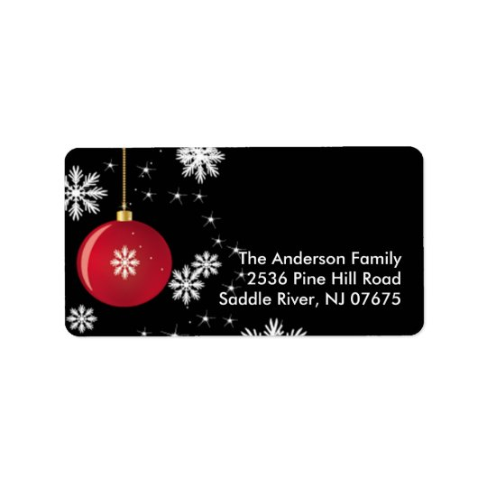 Christmas Ornament Snowflakes Address Label