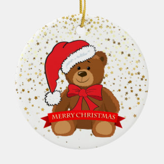 Christmas Ornament-Teddy Bear Round Ceramic Decoration