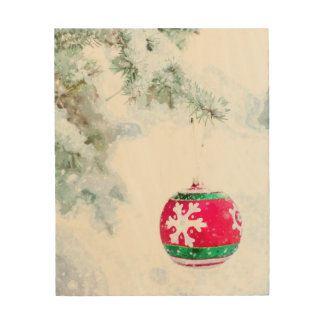 Christmas ornament white snow watercolor wood wall art