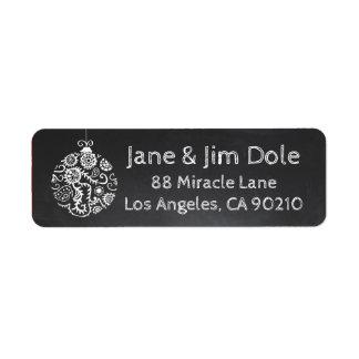 Christmas Ornament Winter chalkboard label Return Address Label
