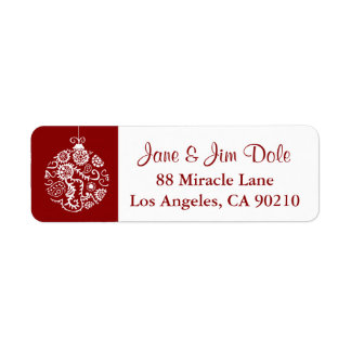 Christmas Ornament Winter Holiday Red Label 2 Return Address Label