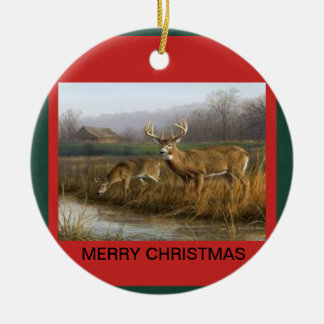 Christmas Ornament with a pair of whitetailed deer