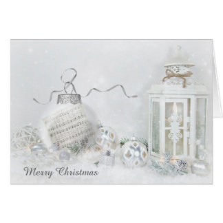 Christmas ornament with music and candle lantern card
