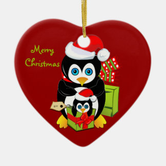 Christmas ornament With Penguin Mom and Baby