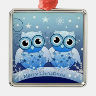 Christmas Ornament with two blue owls