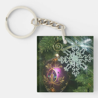 Christmas Ornaments 2 Double-Sided Square Acrylic Key Ring