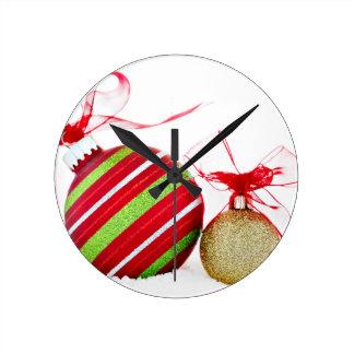 Christmas Ornaments Balls Contemporary Round Clock