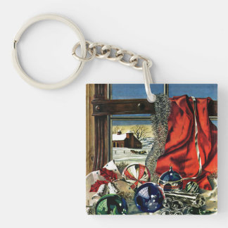 Christmas Ornaments Double-Sided Square Acrylic Key Ring