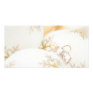 Christmas Ornaments Fancy Gold White Glitter Photo Card