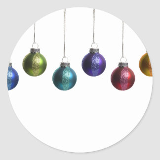Christmas Ornaments in Teal Purple Red Green Gold Classic Round Sticker