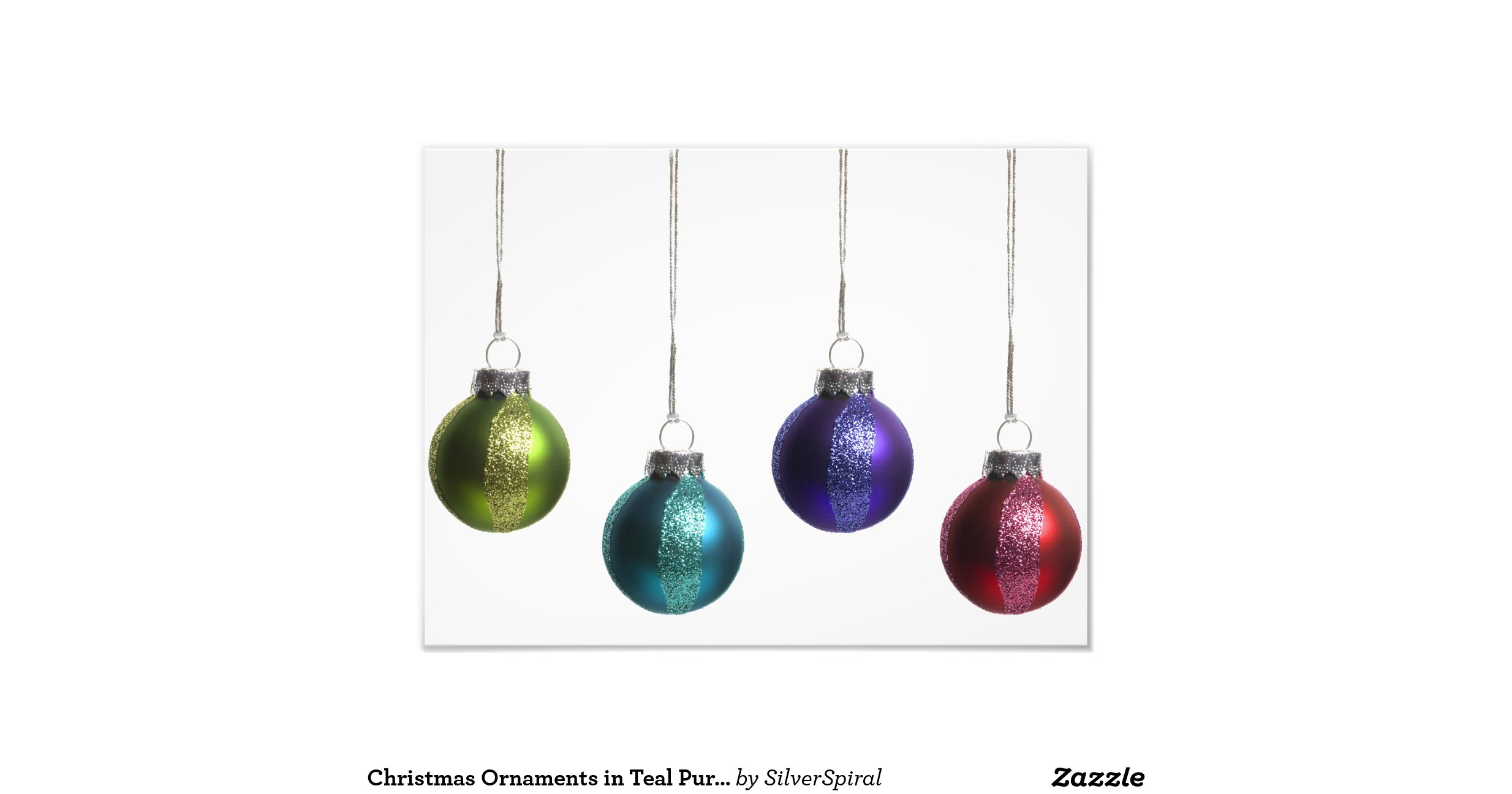 Christmas Ornaments in Teal Purple Red Green Gold Photo ...