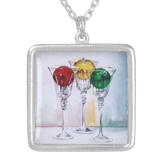 Christmas Ornaments in Wine Glasses Necklace