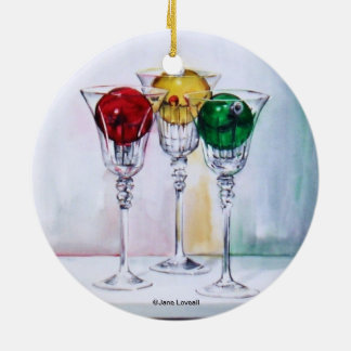 Christmas Ornaments in Wine Glasses Ornament