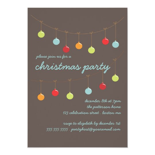 Christmas Ornaments Modern Party Invitation