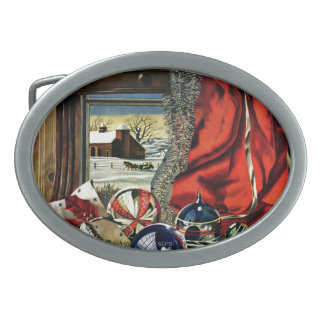 Christmas Ornaments Oval Belt Buckles