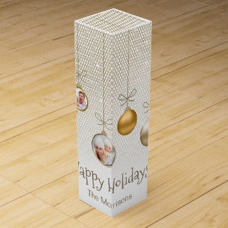 Christmas Ornaments Photo Template Gold ID251 Wine Bottle Box
