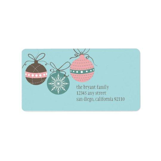 Christmas Ornaments Return Address Label -blue