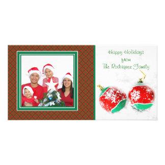 Christmas Ornaments Snow Photo Card