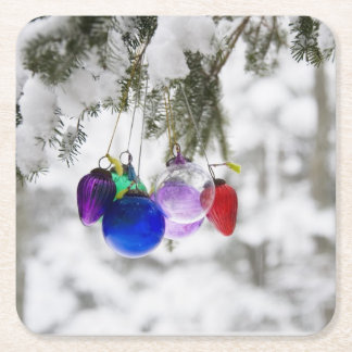 Christmas ornaments square paper coaster