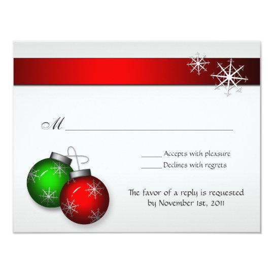 Christmas Ornaments Wedding Reply cards