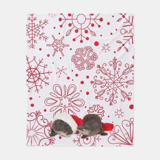 Christmas otter Fleece Blanket, Medium