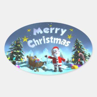 Christmas Oval Sticker