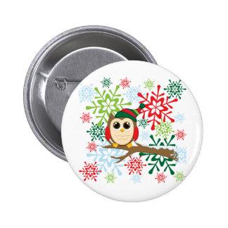 Christmas owl 6 cm round badge