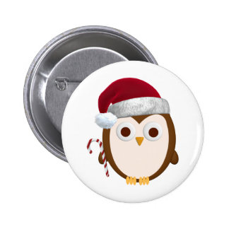 Christmas Owl 6 Cm Round Badge