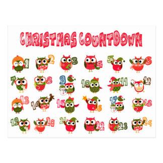 Christmas Owl Advent Countdown Postcard