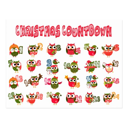 Christmas Owl Advent Countdown Post Cards