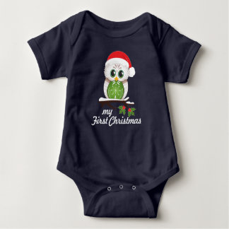 Christmas Owl - First Christmas Baby Bodysuit