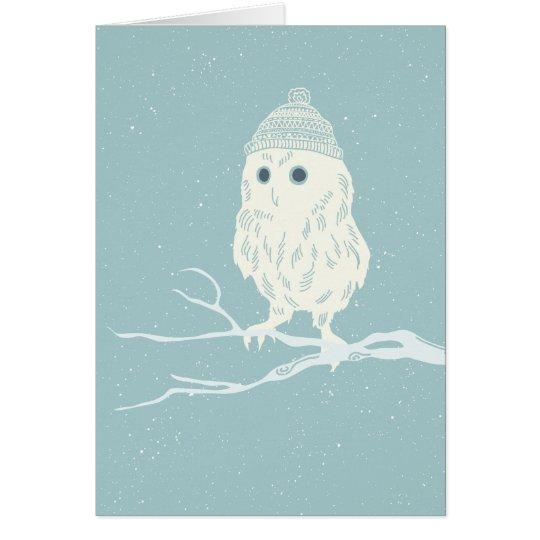 Christmas owl on tree branch - Xmas Card