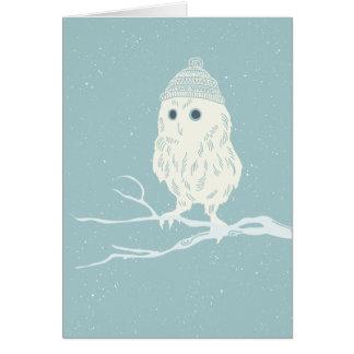 Christmas owl on tree branch - Xmas Greeting Card
