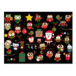 Christmas Owl Pattern Postcard
