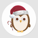 Christmas Owl Round Stickers
