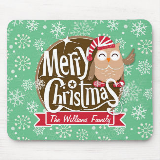 Christmas Owl; Winter; Green & White Snowflakes Mousepads