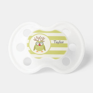 Christmas Owl with Light Green Retro Stripes BooginHead Pacifier