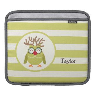 Christmas Owl with Light Green Retro Stripes iPad Sleeve