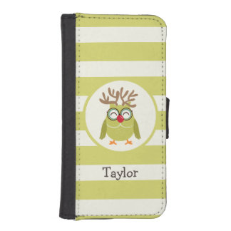 Christmas Owl with Light Green Retro Stripes Phone Wallet Cases