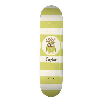 Christmas Owl with Light Green Retro Stripes 21.6 Cm Skateboard Deck