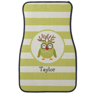Christmas Owl with Light Green Retro Stripes Floor Mat