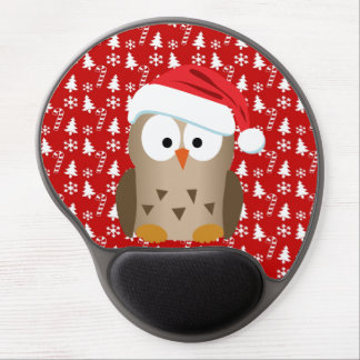 Christmas Owl with Santa Hat Gel Mouse Pads