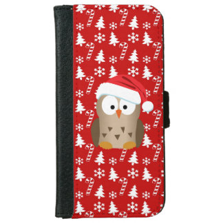 Christmas Owl with Santa Hat iPhone 6 Wallet Case
