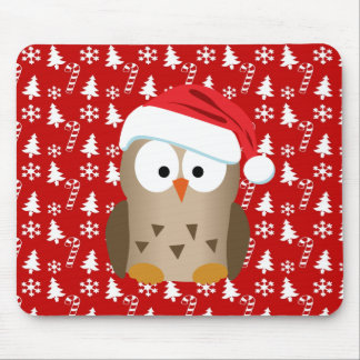 Christmas Owl with Santa Hat Mouse Mat